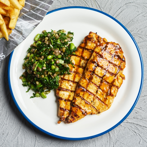 Double peri chicken with new grain salad & chips